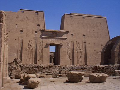 Edfu: The Temple of Horus is a short walk from the Nile. The edifice is about 5 stories tall.