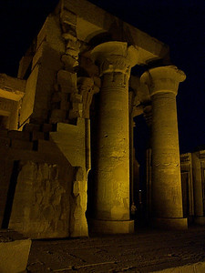 "Kom Ombo: This temple is quite close to and overlooks the Nile. According to local guides, ""The cobras come out at night."" None are visible in the picture."