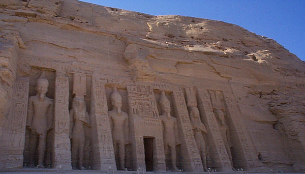Abu Simbel: Temple of Hathor - Nefertari. This is right next to Ramses II, also oriented facing east.