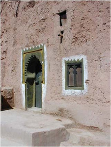 We often saw doors and windows with white frames painted around them on the mud brick or stone. We were never able to determine the significance.