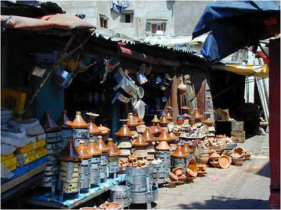 The Medina now occupies the oldest part of Casablanca. It is a collection of themed markets (souks) selling just about everything from spices to mobile phones. This shop sold ceramics. The conical pots are Tagines in which a staple food of the Moroccan diet is cooked. Many of our meals started with Harira (a chickpea soup) and continued with a main dish of chicken, lamb or beef Tagine.