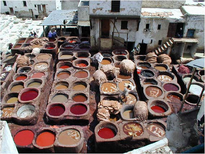 From a smaller medina passage way, we entered a leather goods shop and were escorted to a terrace overlooking one of three main tanneries.  If not for the powerful smell, the honeycomb of vats would seem endlessly fascinating. No mint tea here, only mint leaves held close to your nose to counteract the smell.