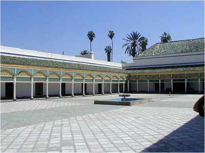 We visited the El Bahia palace, containing this paved court, dark interior reception halls, and Andalusian gardens. It is not surprising that these designs and those of, say the Alhambra in Granada in Spain, are similar. After all the Moors held sway here and in Spain for a vary long time.