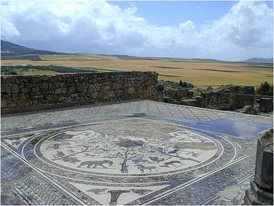 Many of the Roman houses were home to the rich. They decorated the floors with fine mosaics, many of which are almost perfectly preserved today. They stand, open to the sky, available to everyone.  In the background, fields of grain. The area is fertile a lot of grain is grown in the region.