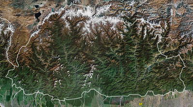"""Satellite map showing Thimphu.  People have lived here since 2,000 BC - herders at that time. Tibet and India have exerted varying degrees of influence over the country over the centuries. The modern history of Bhutan dates from 746 AD when the Guru Rinpoche arrived near what is now Paro.  In 1616, Shabdrung Ngawang Namgyel unified the land and created a code of laws and government to distinguish Bhutan from Tibet.  With the """"assistance"""" of the British, the current form of government was established in 1907 with the crowning of king Ugyen Wangchuck, the Dragon King. Until last week, the fourth king ruled as chief of state.  This fourth king, Jigme Singye Wangchuck, abdicated 2 years ago and began the process of converting the country to a constitutional democracy. last week, the new, much loved, but largely symbolic king was crowned."""