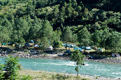 """Here's our tented camp as seen from across the river on our descent. The rightmost tent was the """"stone bath tent."""" Google it ... you'll get the idea."""