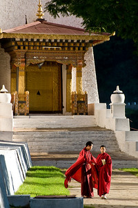 "While at the Dzong we saw the ""changing of the guards."" Not physical or military guards, but monks, the religious and cultural guards here."