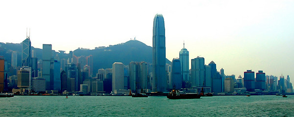 Skyline of Hong Kong from Kowloon where our hotel was.