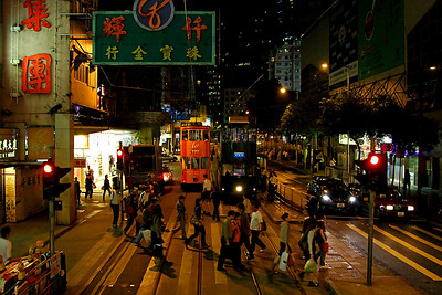 Coming back down from Victoria Peak, we rode a double decker tram. Ensconced in the upper deck, I had a chance to observe Hong Kong night life from a higher perspective. This was fun.