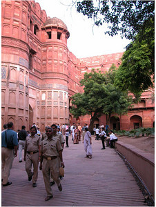 The Fort is built on the same river as the Taj Mahal, and in fact is less than a mile away. It is built in classic style with thick, high walls. Access is through a narrow walled road that would function as a trap for an invading army.