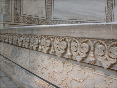 I am always fascinated by the details as well as the overall effect. Here in the elegant marble carving is an attection to detail that create beauty close up, as well as from afar.