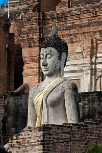 There are many Buddha images. They are still looked after, draped and cared for.