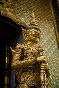 In front of one of the main temples, these two statues stand guard. They are covered in finely worked gold and semi-precious jewels. The detail is incredible.  Here you can get a better idea of the details.