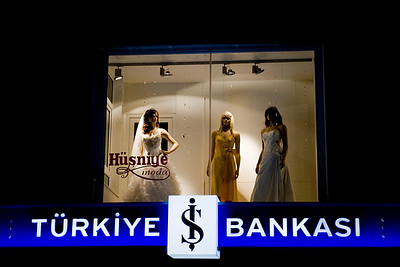 Ankara at night: Many many of the store fronts had wedding dresses on display. Maybe it was the season. Or maybe this is a place young people come to marry. I don't know.