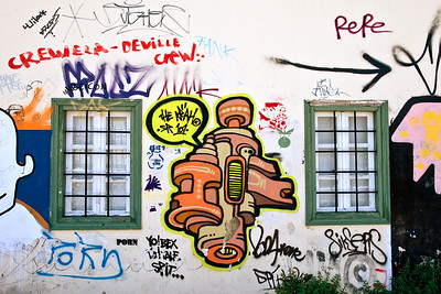 Graffiti in the Plaka, or old city, of Athens.