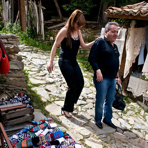 Kusadasi - I think. Throughout turkey I've seen women in very high heels and wondered how they make it over the rough pavement. Here's how!