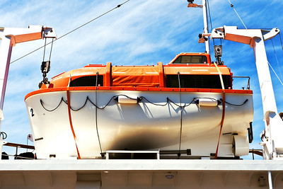 This is the lifeboat on our ship. It looks to me, not a sailor, like a really truly serious lifeboat. I don't want to have to use it.