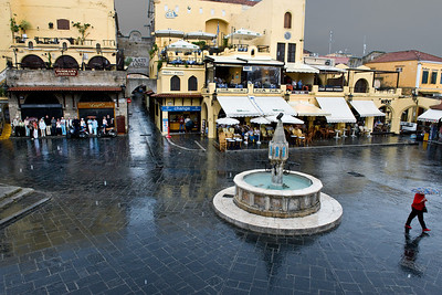 This is the main square of Rhodes town, taken from a balcony restaurant where we had lunch.