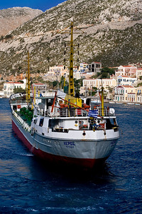 Symi Island: While we were docked, this big ship pulled in and docked just behind us.