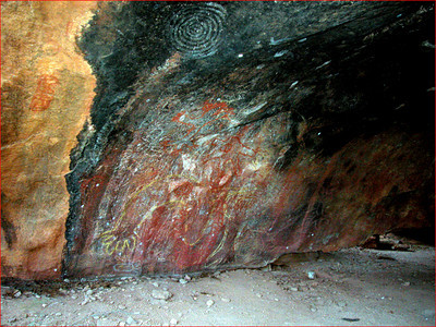 In another part of the cave, there are cave paintings.