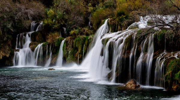 Krka Falls, in Krka National Park. We spent a lovely day here strolling the trails and seeing some beautiful waterfalls.