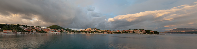 Panorama of Dubrovnik's commercial harbor.