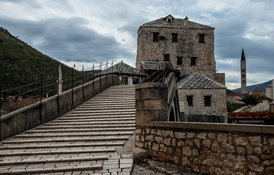 Looking back the other way at the reconstructed Mostar bridge.