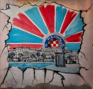 The Croatian soccer team made the country and region proud. There are images celebrating its success all over Croatia. Like this one.