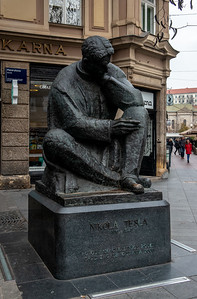 Statue of Nikola Tesla - a Croatian national hero.