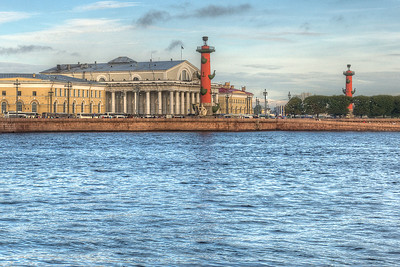 The Naval Museum and Rostral Columns (lighthouses) across the Neva from the Hermitage.
