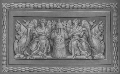 Detail from the prior photo - converted to B&W - to showcase the detail of this fantastic ceiling.