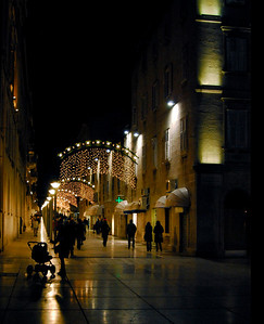 Center of Old Split Decorated for Christmas