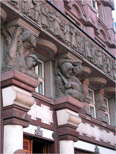 The city of Prague has been troubled by war for as long as history has been recorded. The impact of WW I and WW II seem especially close to the surface. Many buildings have facades featuring modern war themes.