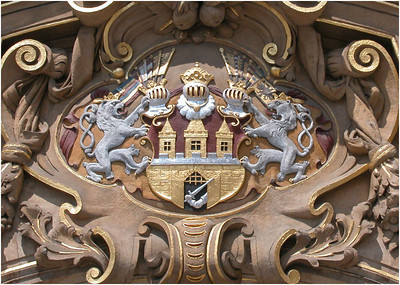 Many of the buildings are richly decorated and many of those feature the crest of Prague. This was particularly beautiful.