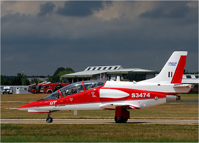 One of the cutest little jets in the show was this HAL Intermediate jet trainer. If you join the air force to fly fighters, they don't stick you in an F/A-18, or Harrier, or MiG right off. You fly trainers like this one to become proficient before they give you the more powerful fighters to fly.