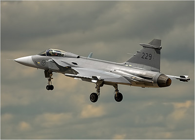Well, this is one of the jets they're referring to, the Saab JAS-39 Gripen fighter. This is a single engine, 31,000 pound, Mach 2 fighter used by Sweden, Czech Republic, Hungary and South Africa. Like several European design fighters, it has forward canard wings which give very good take-off, landing and turning performance.
