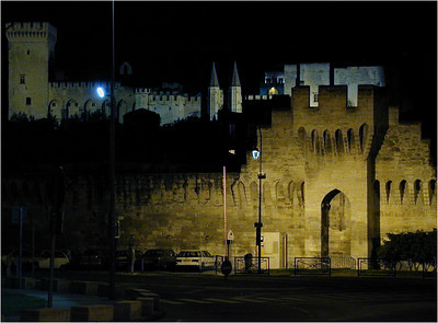 On our last night in Avignon, after our fabulous dinner, we strolled out onto the bridge outside the city walls and glanced back. In the foreground is the city wall, and behind it the Palais des Papes. This place has a neat atmosphere. I like it very much.