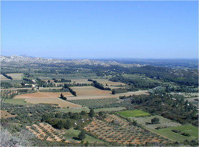 Les Baux is perched atop a hill overlooking this nice valley.
