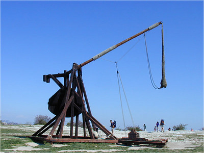 "There were also some full sized working replicas of medieval siege engines. This catapult would throw a ""one man rock"" hundreds of meters and was intended to batter down walls."