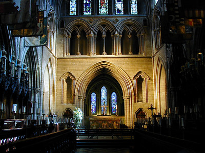 The cathedral encloses a huge space which is well lit if the sun happens to be shining through the stained glass windows.