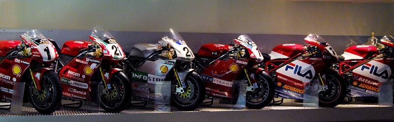 Six generations of racing bikes.