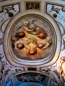 The crest deserves special mention from my perspective. It is a highly stylized Medici crest. Notice the angels holding six balls. Those six balls were the Medici Brand, or logo if you will, and boy did they believe in the power of branding. Every building they built, ... every fountain, every sculpture, every scientific instrument they may have sponsored ... will have a Medici crest prominently included.