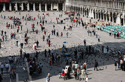 Venice: The Piazza San Marco is the center of gravity for tourists in Venice. Our hotel was just 50 meters from the far corner of the piazza.