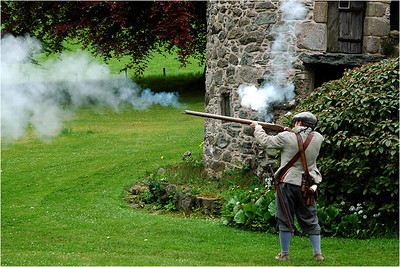So here is one of the Covenanters shooting one of the period flint lock rifles.