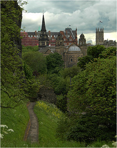 And a view of a church steeple taken from the edge of the fortifications of Edinburgh castle itself.