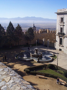 Garden and fountain, just inside the main gate. At 3,700 feet, Avila is much higher than Madrid, therefore cooler in the summer and colder in the winter.