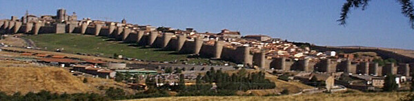 Panorama of Avila from the highway to Salamanca to the west. The wall surrounding Avila is 2 km long and has 88 turrets.