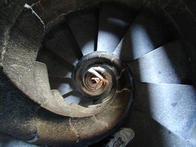 An interior spiral stair which rises to the top of the spire.