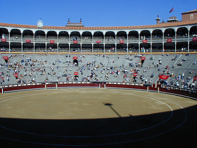 "The Plaza de Toros in Madrid is an open-air stadium seating about 30,000 people. To give you a sense of scale, the ring is about 50 meters across. When you buy tickets, you can choose ""sun"" or ""shade."" On this day in early June, the ambient air temperature was 35 degrees Centigrade (nearly 90). On the sunny side of the stadium, it was approaching 40 degrees. The sunny side of the stadium fills at the last moment."