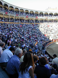 These Bullfights occurred during a period known as San Isidro, for the patron saint of Madrid. They are the most popular and well attended. Tickets are difficult to obtain. People attending were truly a cross section of Spanish society. Business men in suits. Women fashionably dressed in high heels. Working men in working cloths. Young people dressed to impress and attract each other. Tourists in jeans and running shoes. The May/December couple in the foreground is such an expression of optimism.